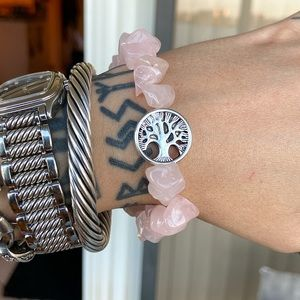 Genuine rose quartz chips gemstones boho bracelet